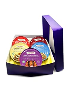 Gourmet Gift Basket with ready to eat Greek meals including Giant beans, Stuffed grape leaves and Greek style cooked eggplant, Okra, & Chickpeas | Healthy foods Gift Basket