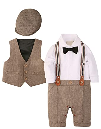 31135f13a WESIDOM Baby Boy Suit Outfits Set 3pcs,Infant Tuxedo Long Sleeve Gentleman  Wedding Jumpsuit &