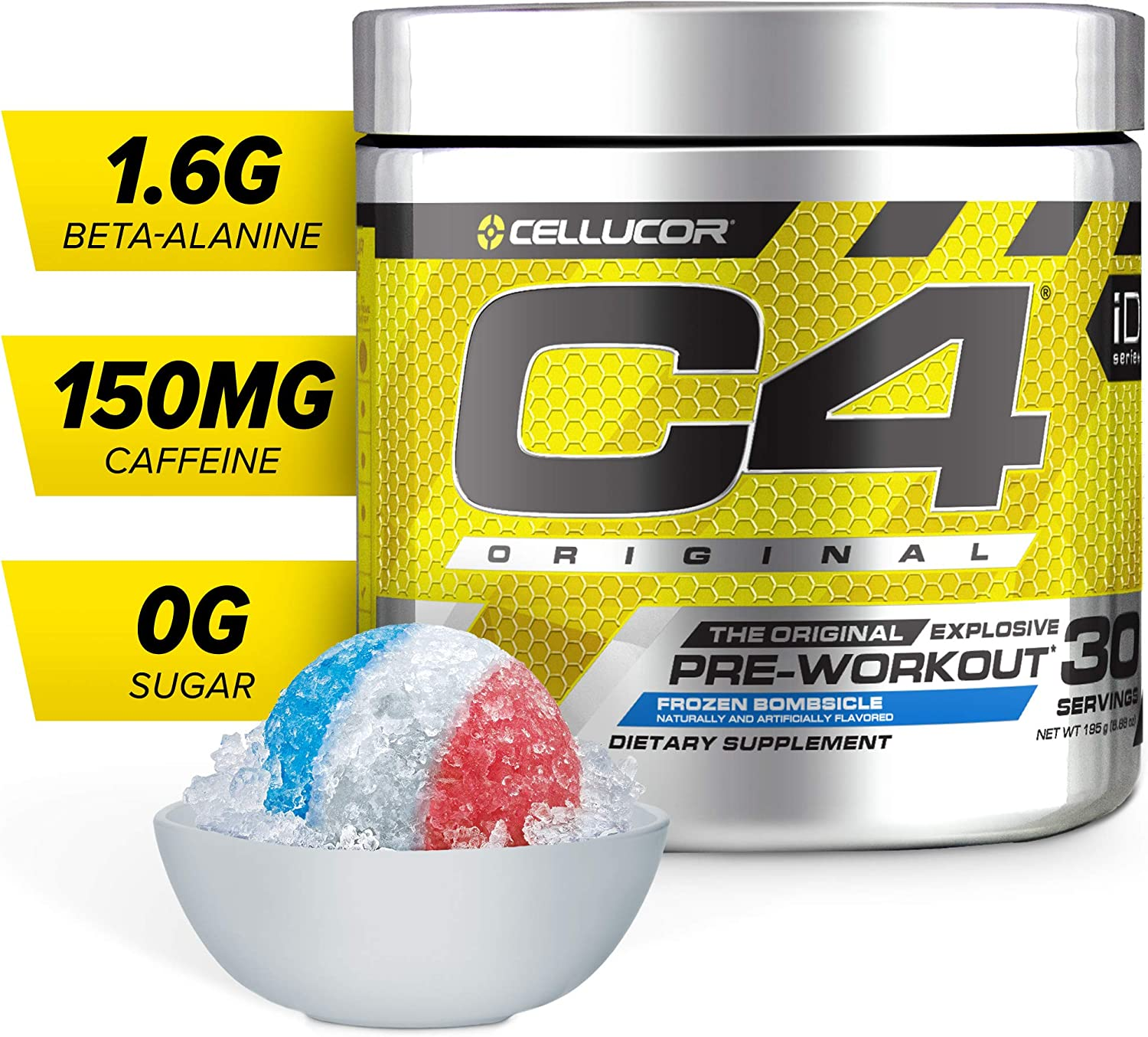 C4 Original Pre Workout Powder Frozen Bombsicle Sugar Free Preworkout Energy Supplement for Men Women 150mg Caffeine beta Alanine Creatine 30 Servings