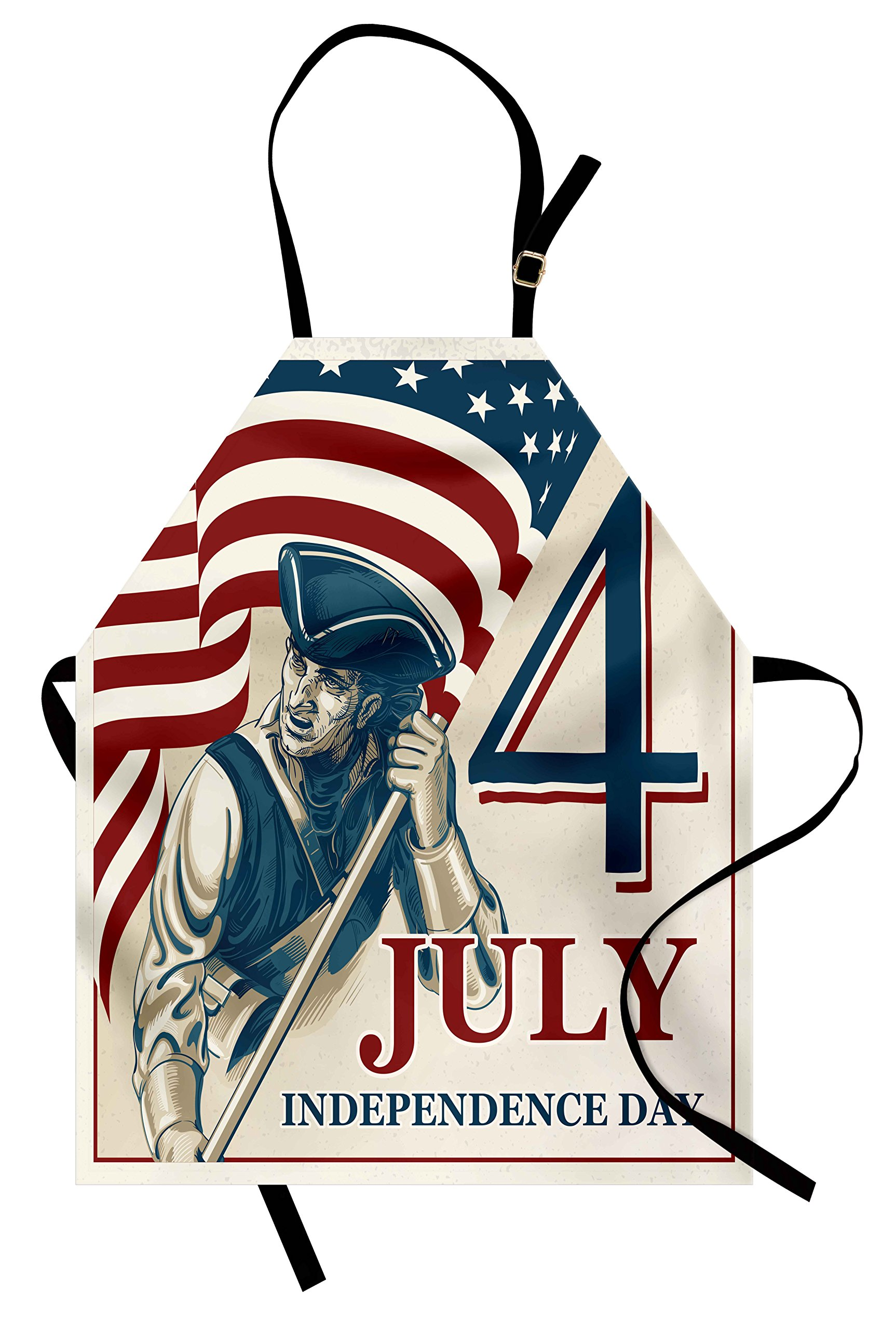 Ambesonne 4th of July Apron, Sketch Style Soldier Holding The Old Glory Independence Day Themed Illustration, Unisex Kitchen Bib Apron with Adjustable Neck for Cooking Baking Gardening, Multicolor