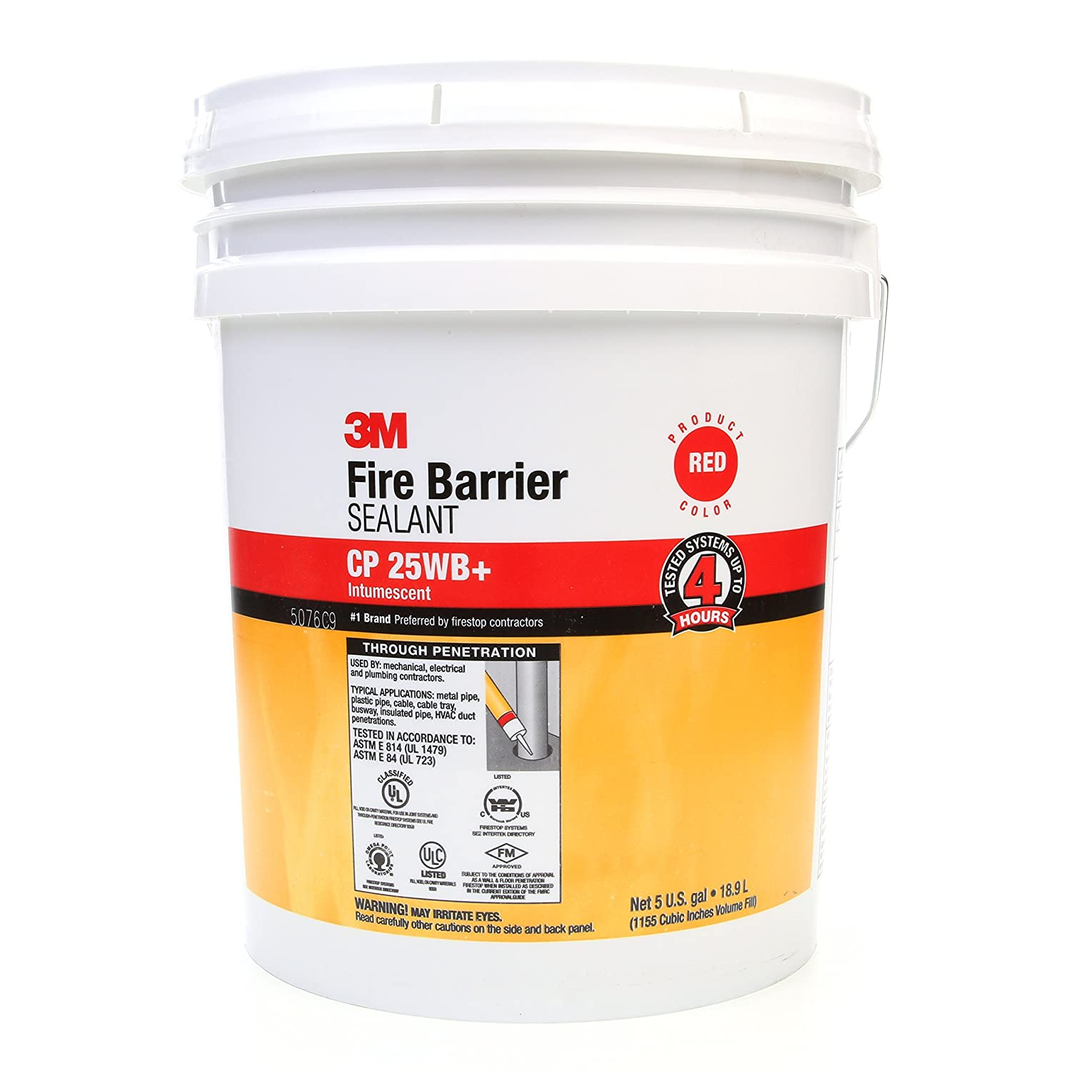 Image of Home Improvements 3M Fire Barrier Sealant CP 25WB+, Red, 5 Gallon Drum (Pail)