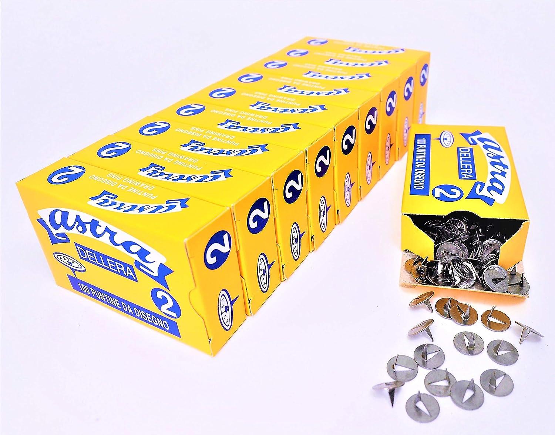 di/ám mm 10.0 2 - Le/ón de la Era fabricado en Italia. 1000 chinchetas Astra de acero N Taco de 10 cajas de 100 uds