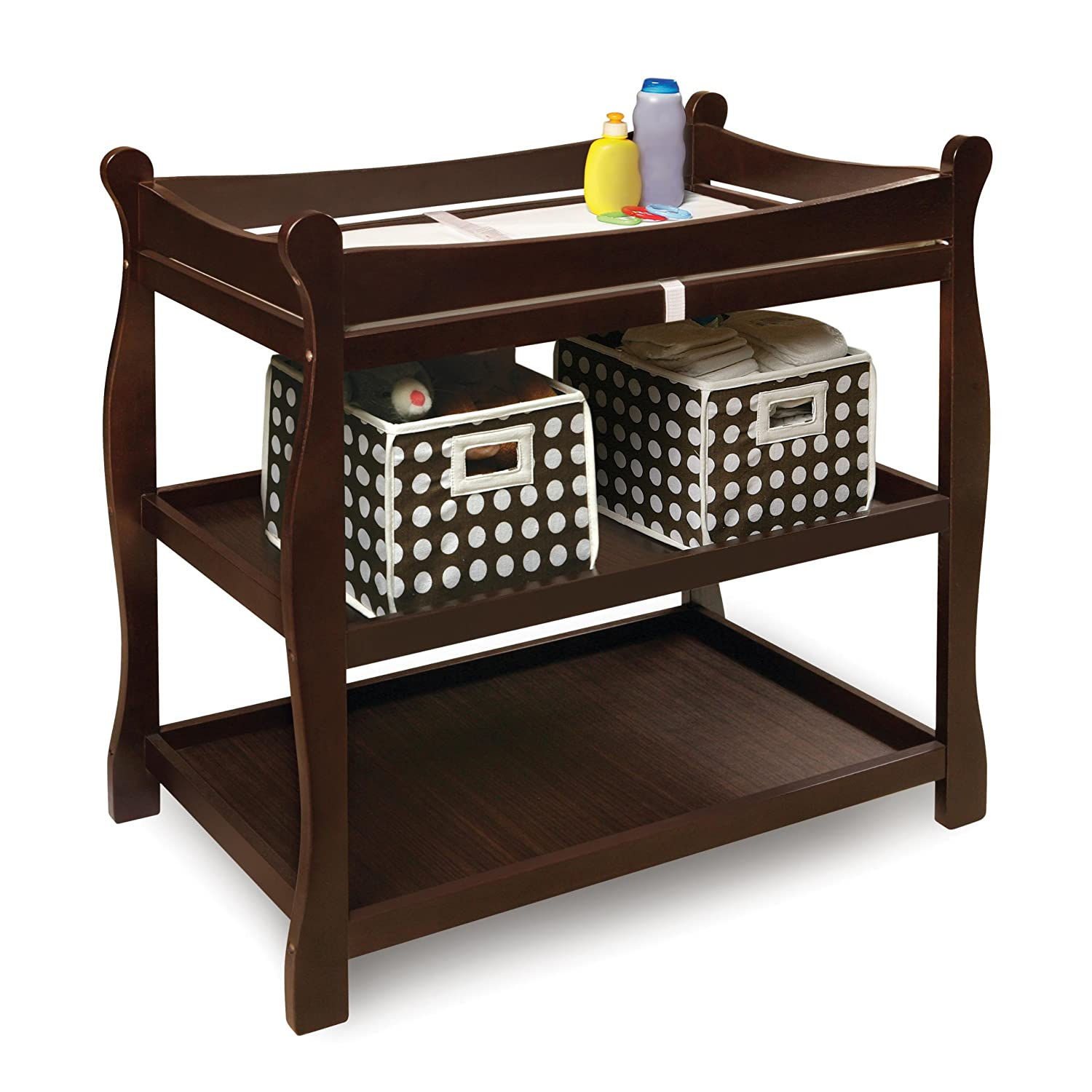Amazon.com : Badger Basket Sleigh Style Baby Changing Table, Cherry : Baby