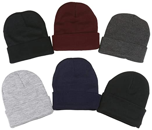 ToBeInStyle Men s Pack of 6 Soft Stretchy Beanies (One Size ... e811f06aed8f