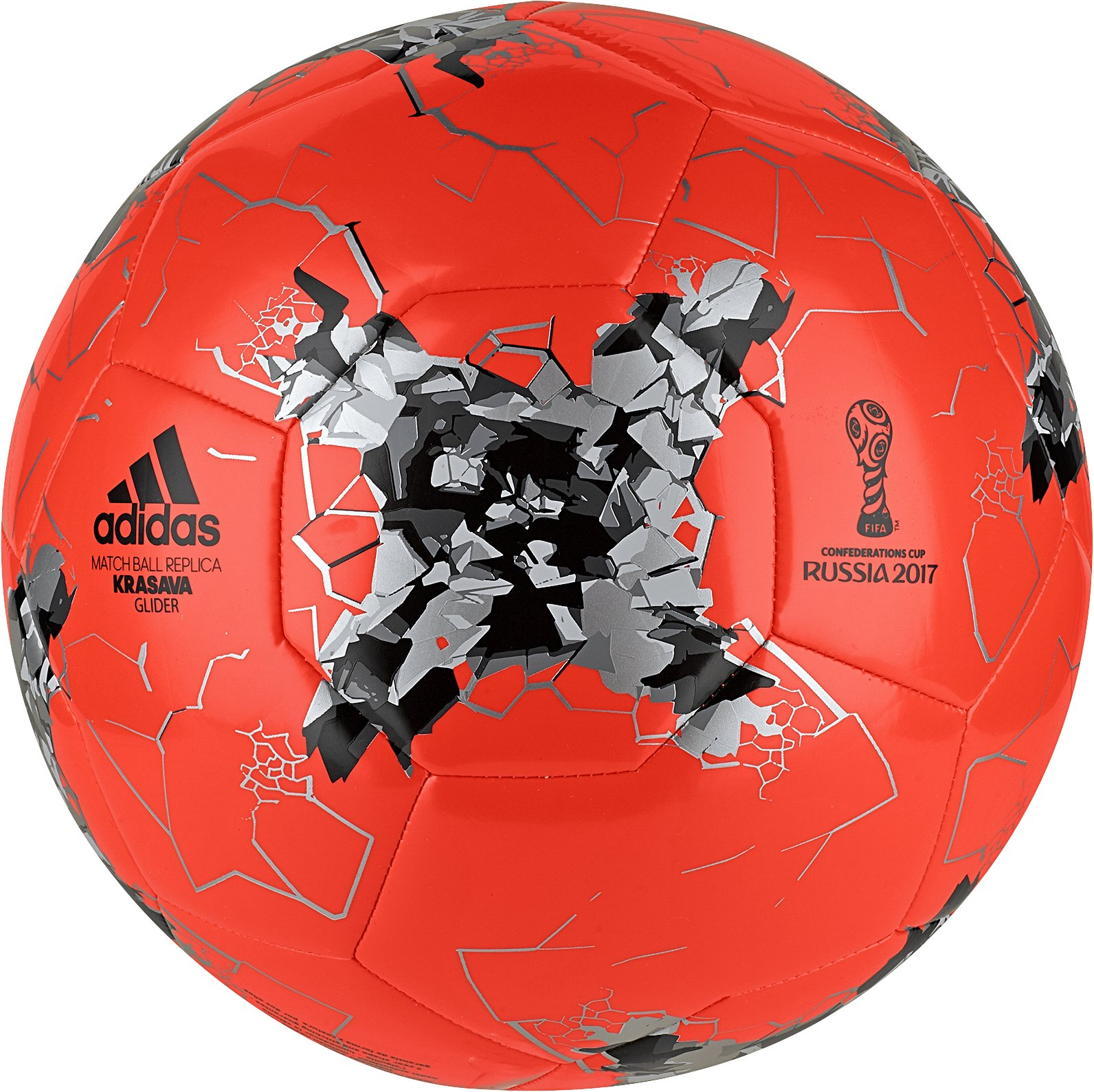 adidas Performance Confederations Cup Glider Soccer Ball, Solar Red/Silver Metallic/Black, Size 3