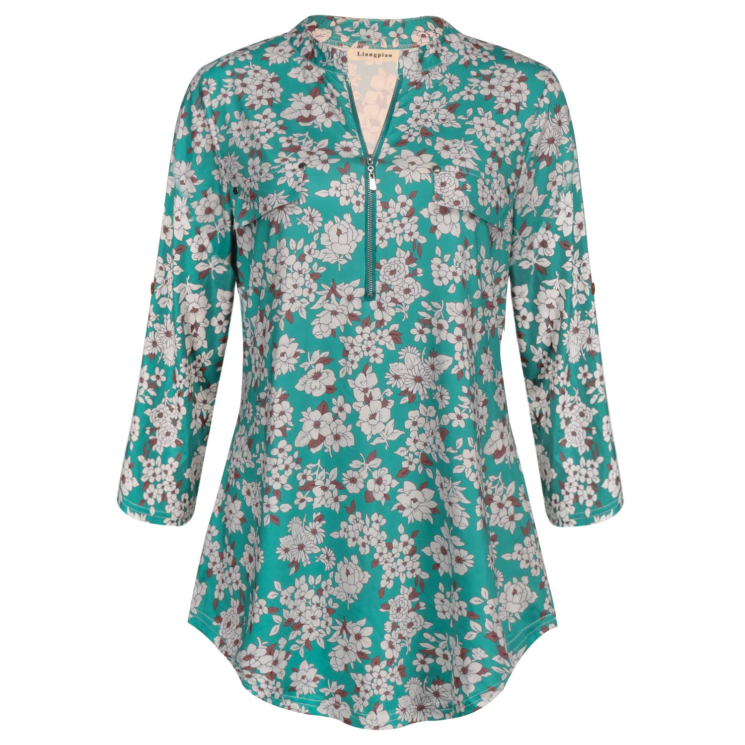 Liangpiao Womens Floral Tunic Tops 3//4 Roll up Sleeve Shirt Work Chiffon Blouse
