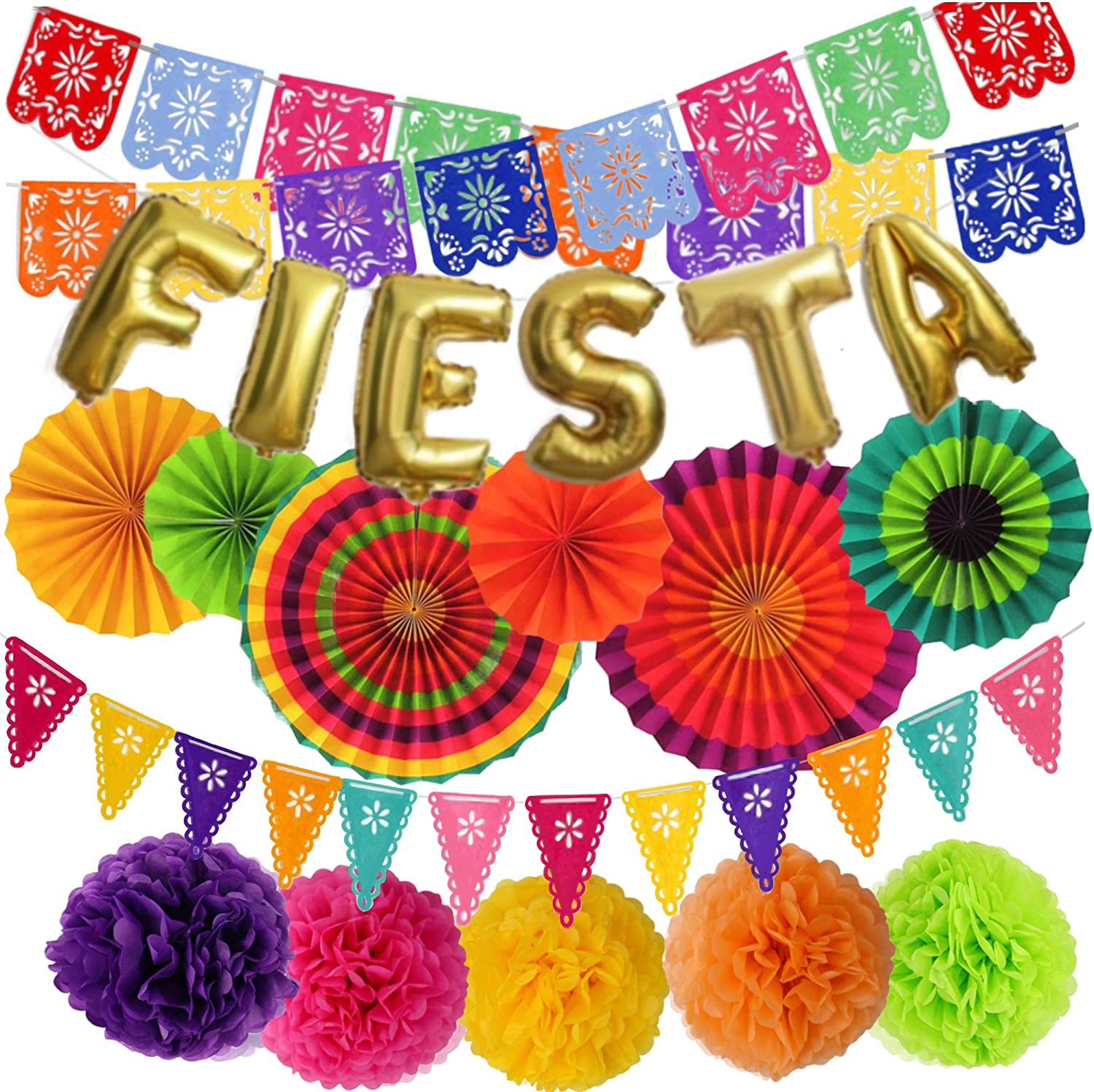 Mexican Fiesta Party Decorations – Cinco De Mayo - 6 Paper Fans, 5 Flowers Pom Poms, 2 Papel Picado, 1 Pennants Garland, Taco Bout Tuesday, Birthday, Engagement Supplies