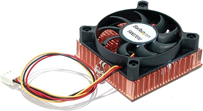 StarTech.com 1U 60x10mm Socket 7/370 CPU Cooler Fan -Low Profile CPU Cooler w/ Copper Heatsink & TX3 (FAN3701U),Black