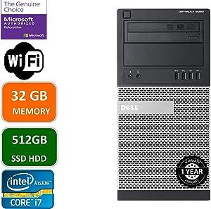 Dell Optiplex 9020 Mini Tower Desktop PC, Intel Core i7-4770-3.4 GHz, 32GB Ram, 512GB SSD WiFi, DVD-RW, Windows 10 Pro (Renewed)