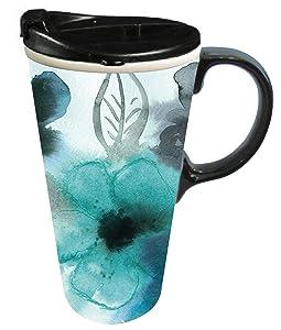 Cypress 3CTC5340 Watercolor Floral Ceramic Travel Mug 17 oz Blue