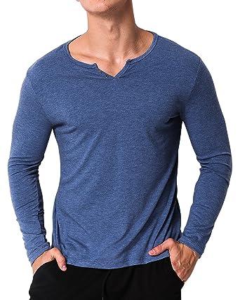 MODCHOK Herren Langarmshirt V-Ausschnitt Langarm Longsleeve Einfarbig Shirt  T-Shirt Hemd Tee  Amazon.de  Bekleidung 0224d3352e