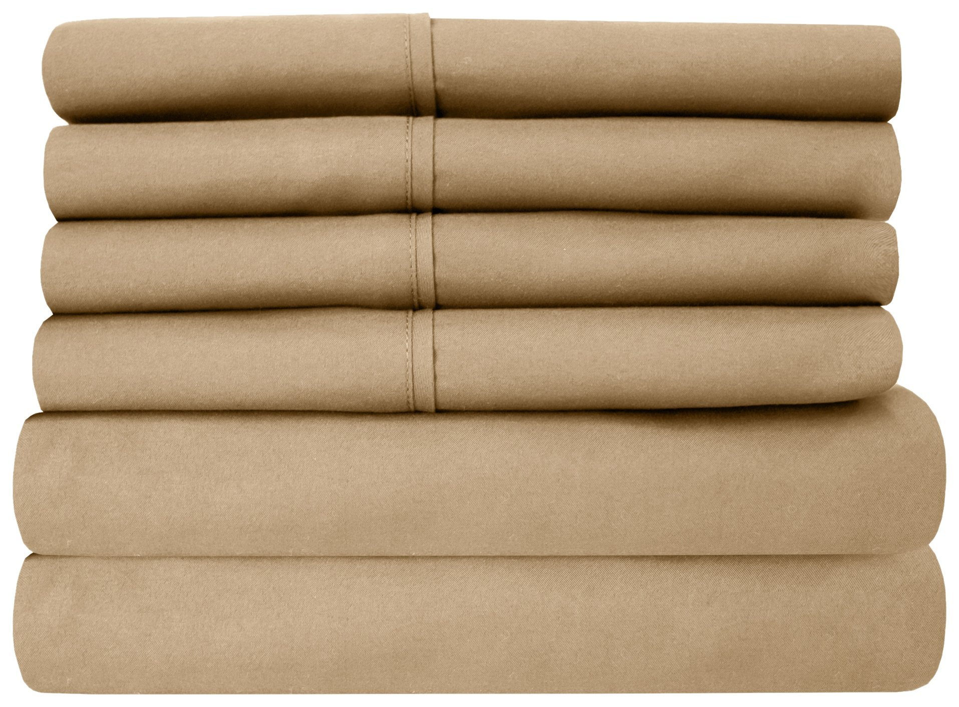 Sweet Home Collection 6 Piece 1500 Thread Count  Deep Pocket Bed Sheet Set, King, Taupe