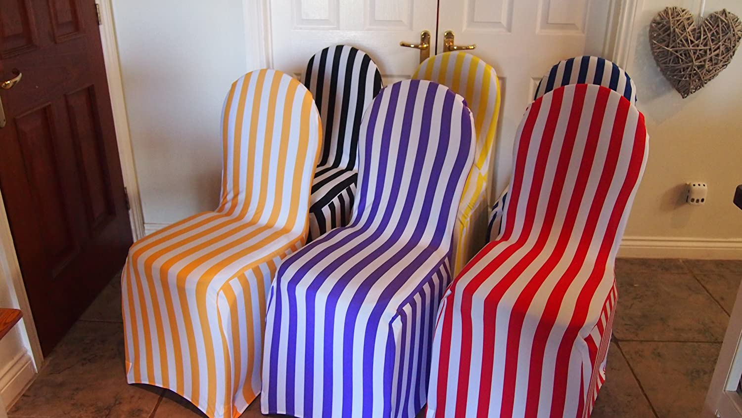 Ordinaire Dining Room Chair Covers   Striped (Blue Stripe) Other Stripey Covers  Available: Amazon.co.uk: Kitchen U0026 Home