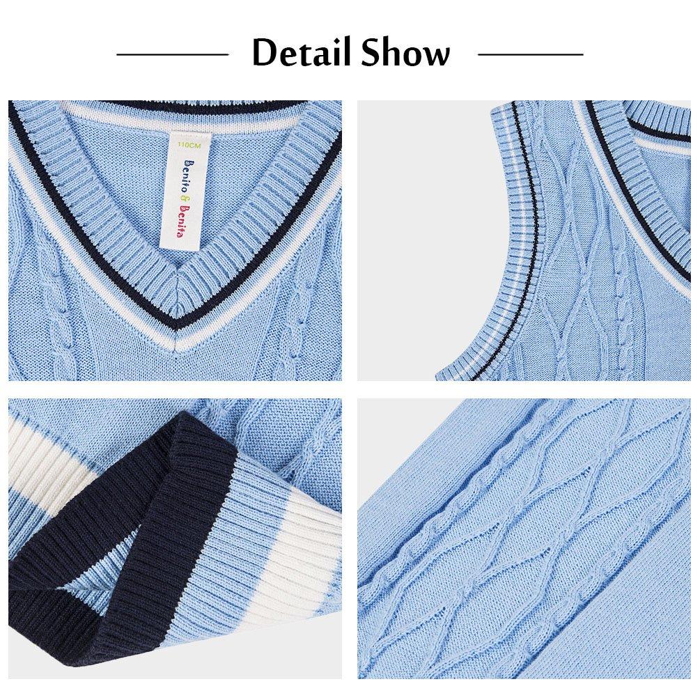 Benito & Benita Sweater Vest School Vest V-Neck Uniforms Cotton Cable-Knit Pullover for Boys/Girls 2-12Y Light Blue by Benito & Benita (Image #4)