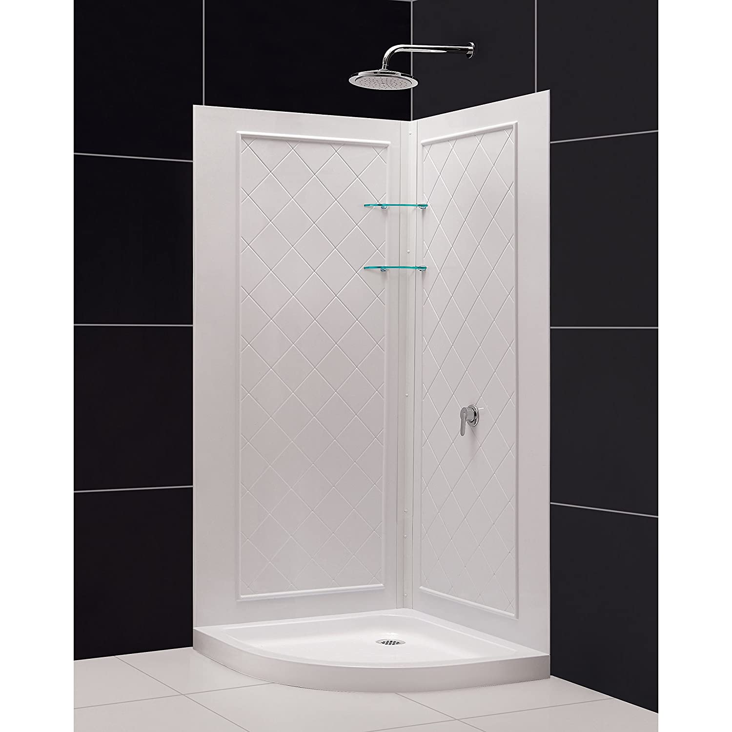 W Kit, With Corner Sliding Shower Enclosure In Chrome, White Acrylic Base  And Backwalls   Shower Doors   Amazon.com