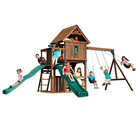 Swing N Slide Mont Eagle Play Set With Two Swings Two Slides Rock Wall And Picnic Table