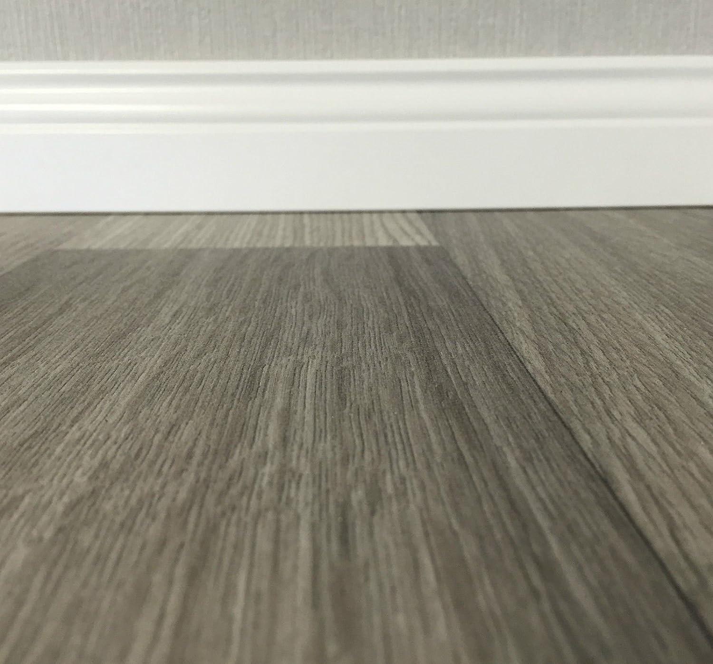 PVC-Belag verf/ügbar in der Breite 4 m /& in der L/änge 4,5 m PVC Vinyl-Bodenbelag in der Optik grau anthrazit Holz Planke CV-Boden wird in ben/ötigter Gr/ö/ße als Meterware geliefert