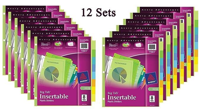 Amazon Avery Big Tab Insertable Plastic Dividers 8 Tabs 12