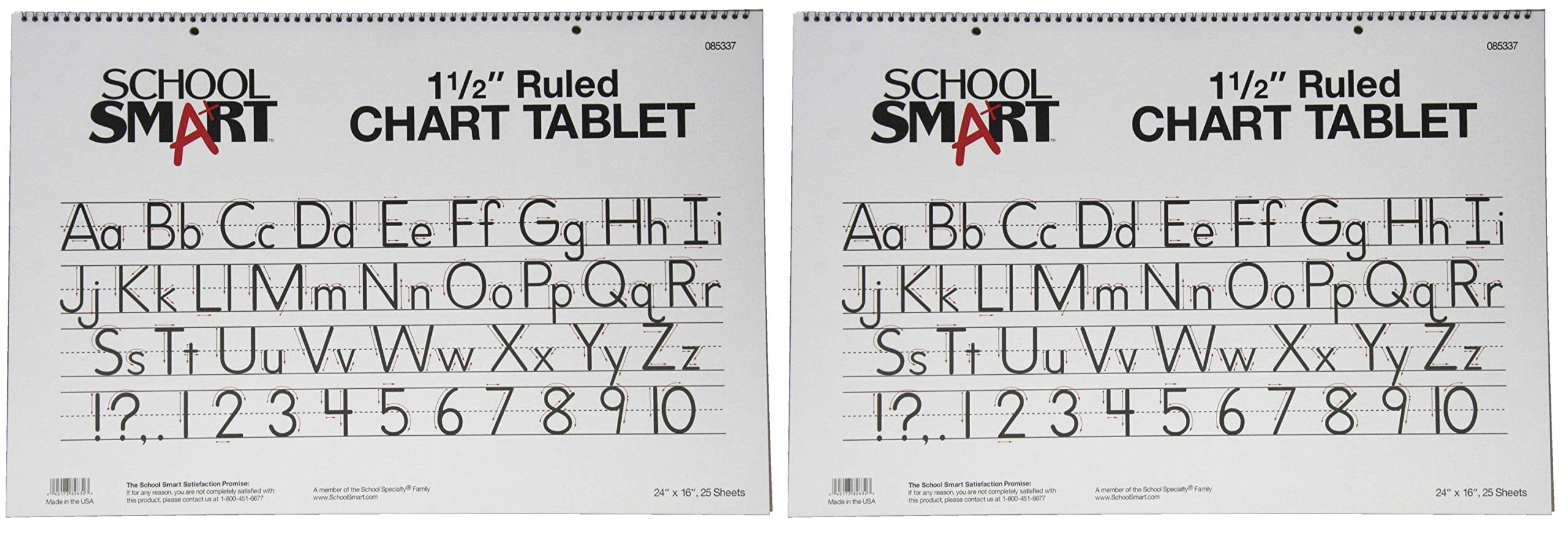 School Smart Chart Tablet, 24 x 16 Inches, 1-1/2 Inch Skip Line, 25 Sheets (Тwo Рack)