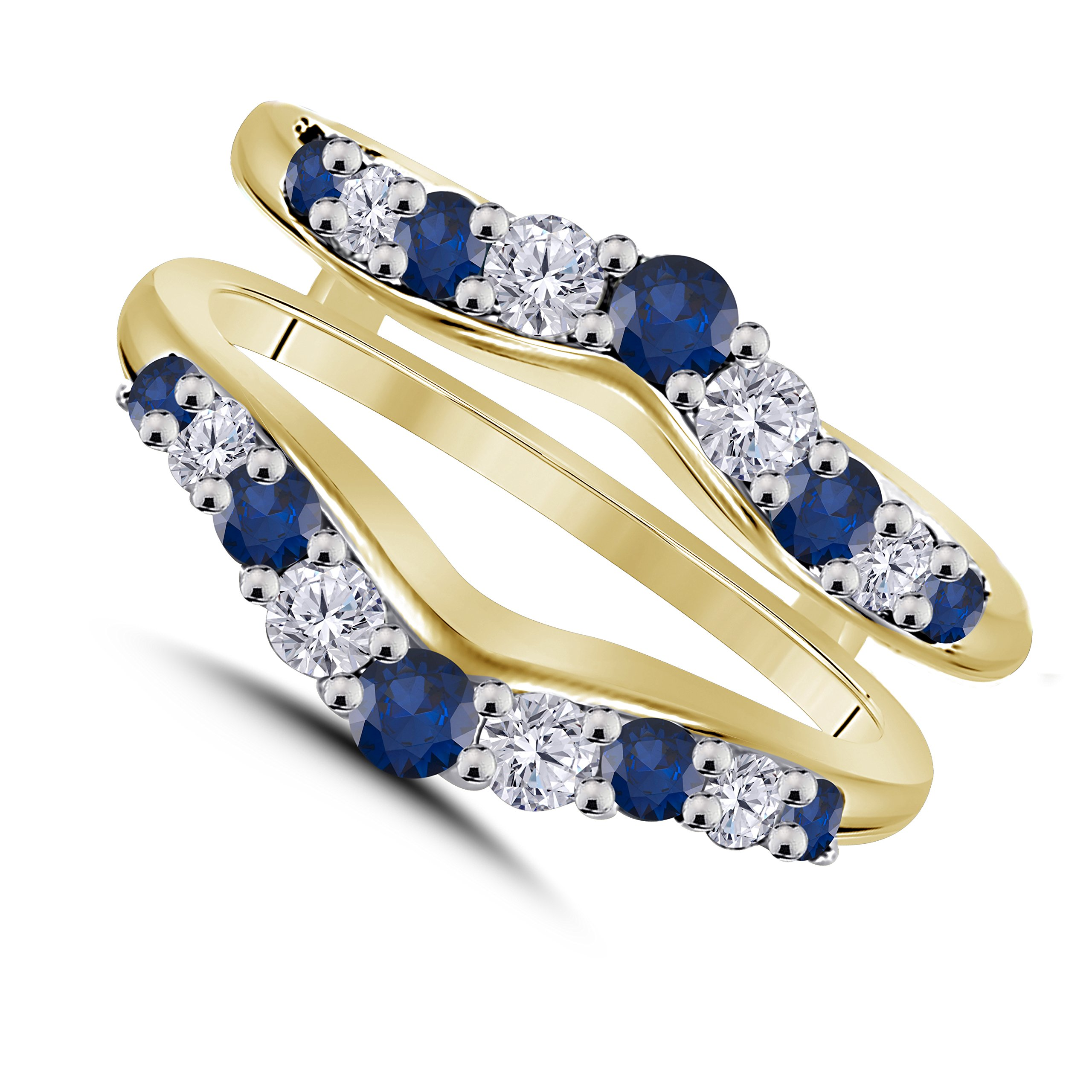 Gems and Jewels 1/2 Ct 14K Yellow Gold Plated Round Cut White Cubic Zirconia & Blue Sapphire Ladies Wedding Band Guard Double Ring
