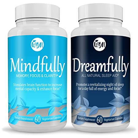 MINDFULLY Nootropic Brain Booster DREAMFULLY Natural Sleep Aid- Supports Cognitive Function Calm, Restful Sleep – 60 Vegetarian Capsules Per Bottle