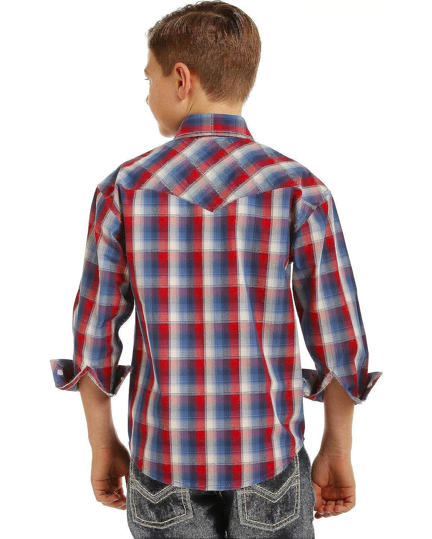 B8s3122 Rock /& Roll Cowboy Boys and Plaid Long Sleeve Snap Shirt