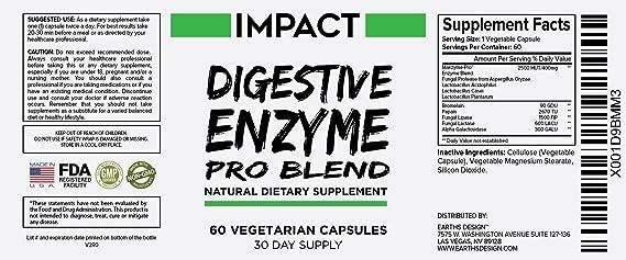 Mezcla Pro de Enzimas Digestivas – Ayuda Natural sin Gluten para Mejor Digestión y Absorción de Lactosa, Combate el Hinchazón y Alivia los Gases, 60 ...