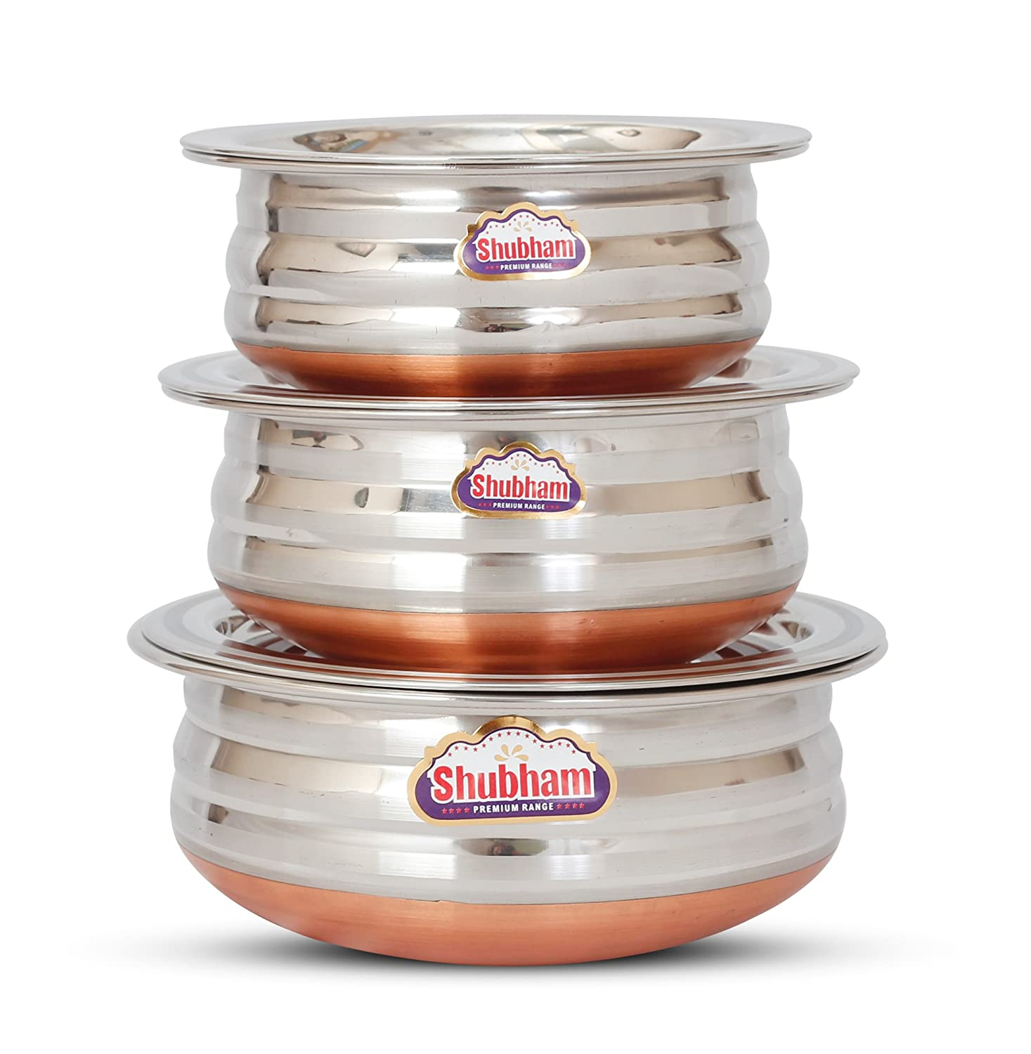 efe923eb1b6 Buy Shubham Copper Bottom Container Urli With Lid - 3 Pcs Set S10-12 Online  at Low Prices in India - Amazon.in