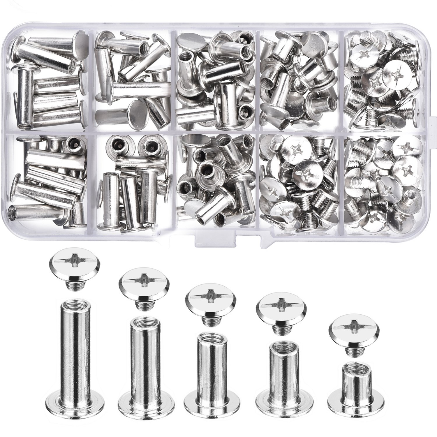 Pangda 80 Set Chicago Binding Screws Assorted Kit 5 Sizes Metal Round Cross Head Stud Screw Posts Nail Rivet Chicago Button for DIY Leather Decoration Bookbinding 4336862334