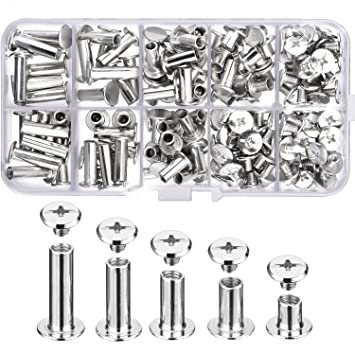 Pangda 80 Set Chicago Binding Screws Assorted Kit 5 Sizes Metal Round Cross Head Stud Screw Posts Nail Rivet Chicago Button for DIY Leather Decoration Bookbinding