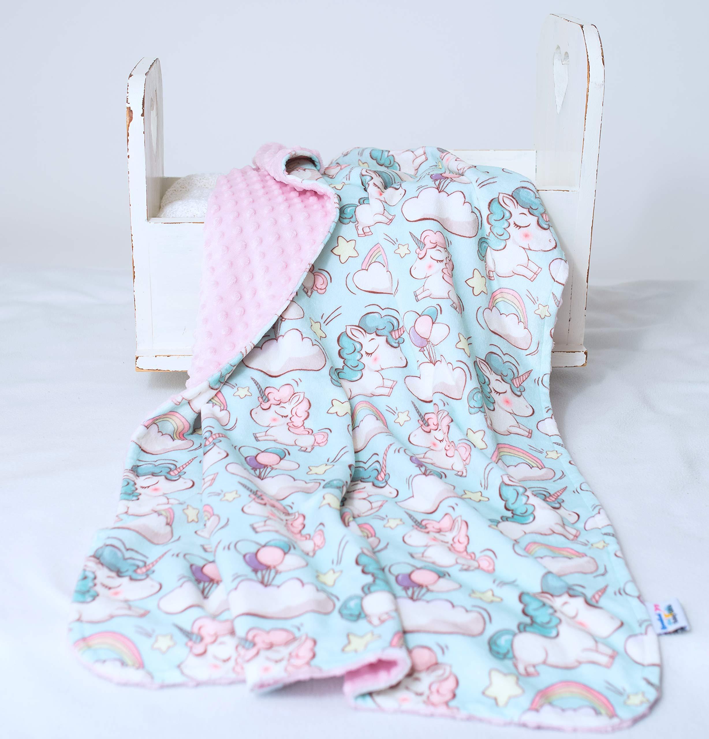 Bundled Joy Baby Gifts – Premium Soft Plush Lightweight Minky Dot Toddler Baby Newborn Blanket 30″x40″ Girls Unicorn Pink