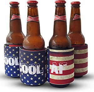 Savill Row - Can Coolie Can Sleeve Slap Wrap 4-PACK - Neoprene Insulated Beer Coolie Sleeve for Bottles and Cans - Slim Can Cooler - Beer Sleeves for Cans - Just Slap and Wrap - 12 or 16 Oz - USA Flag
