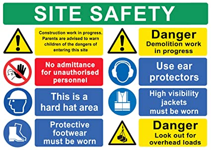 BUILDING SITE SAFETY CONSTRUCTION Signs BOARDS Health