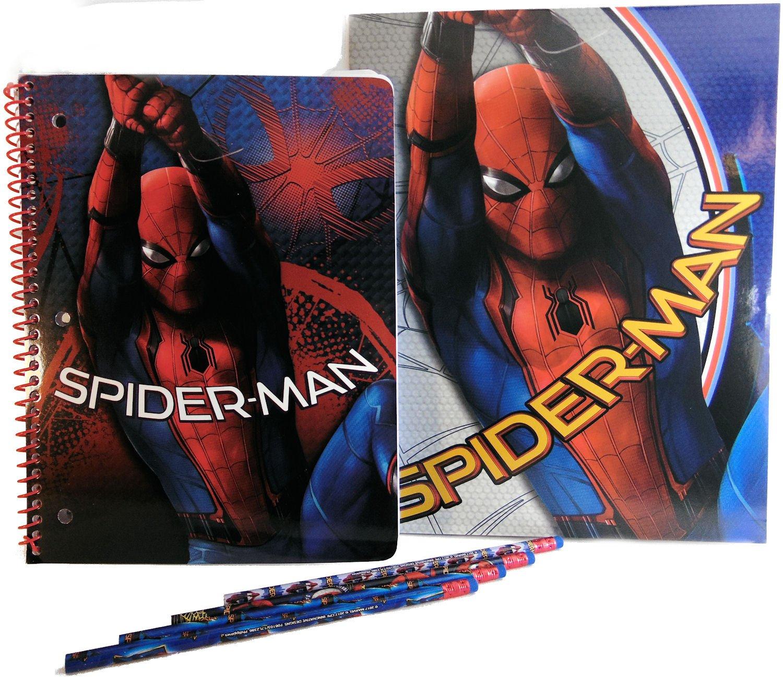 Marvel Spiderman School Folder, Notebook and Pencils - Set of 1 2-Pocket Portfolio, 1 Wide Ruled Notebook, and 4 Spiderman Pencils