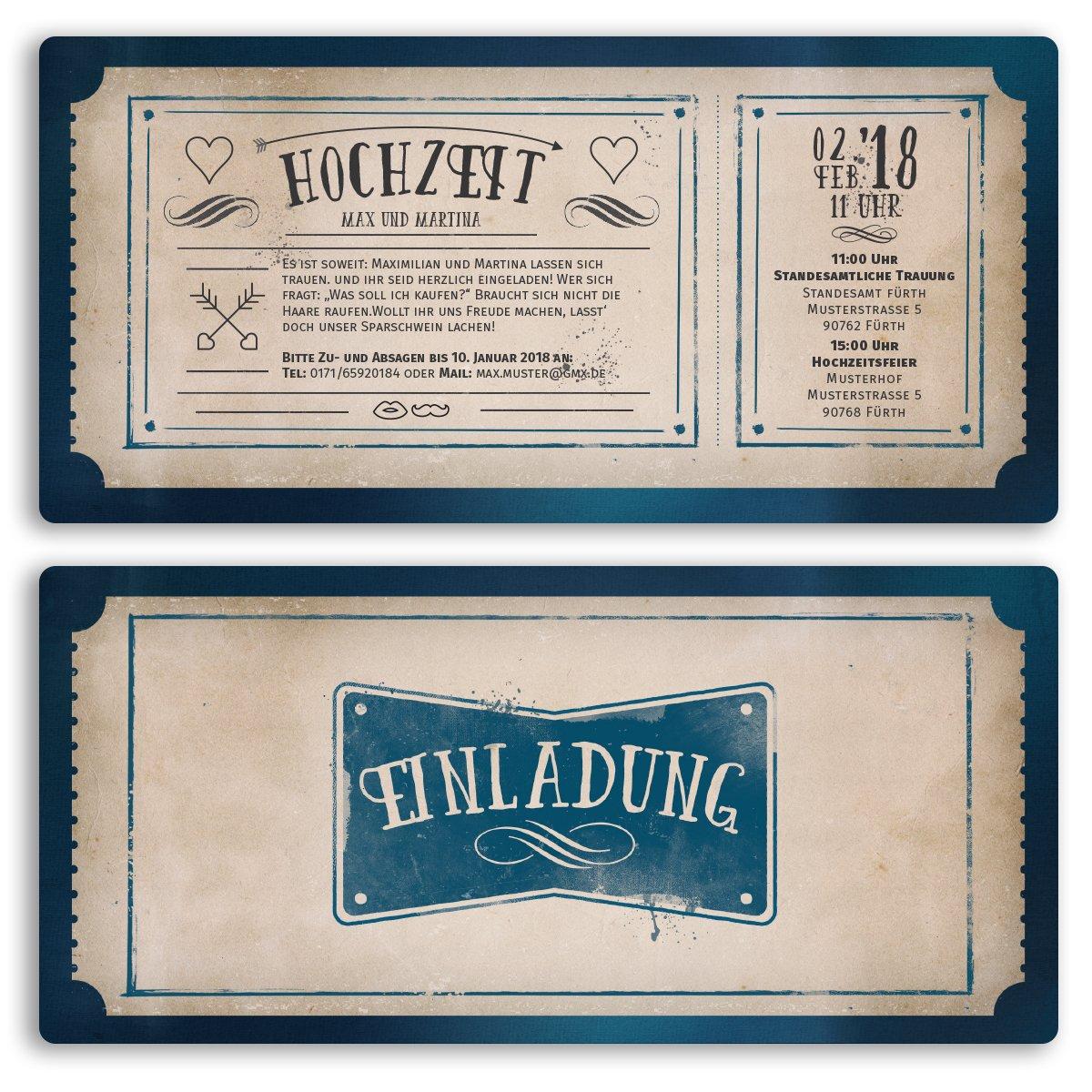 20 x hochzeitseinladungen vintage retro ticket alt einladungskarten hochzeit amazon de bürobedarf schreibwaren