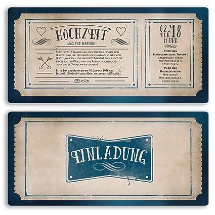 Boda Invitaciones Vintage Retro Ticket Alt Tarjetas De Boda