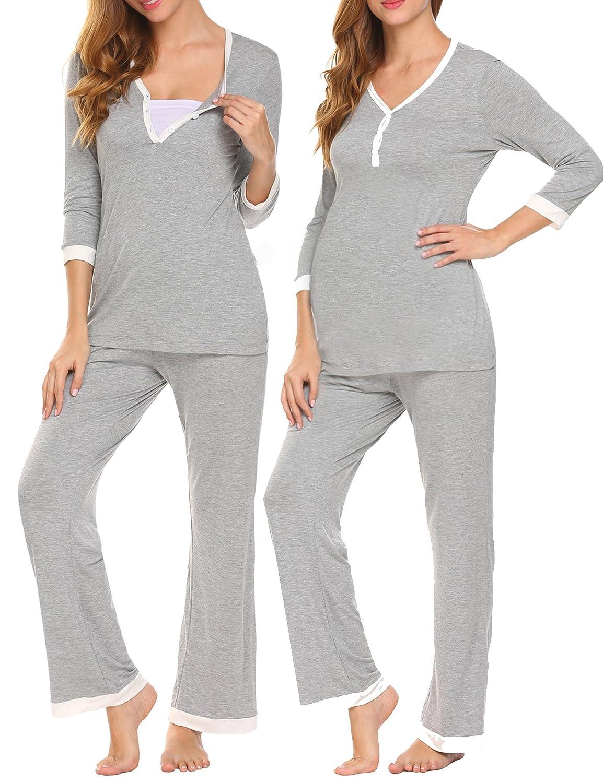 Unibelle Damen Stillpyjama-Umstandspyjama-Schlafanzug Zweiteilig Hausanzug Pyjamas 3/4 Ärmel V-Ausschnitt mit Knöpfeleiste Loungewear- Gr. XXL, Grau TYK000178_GR_XXL