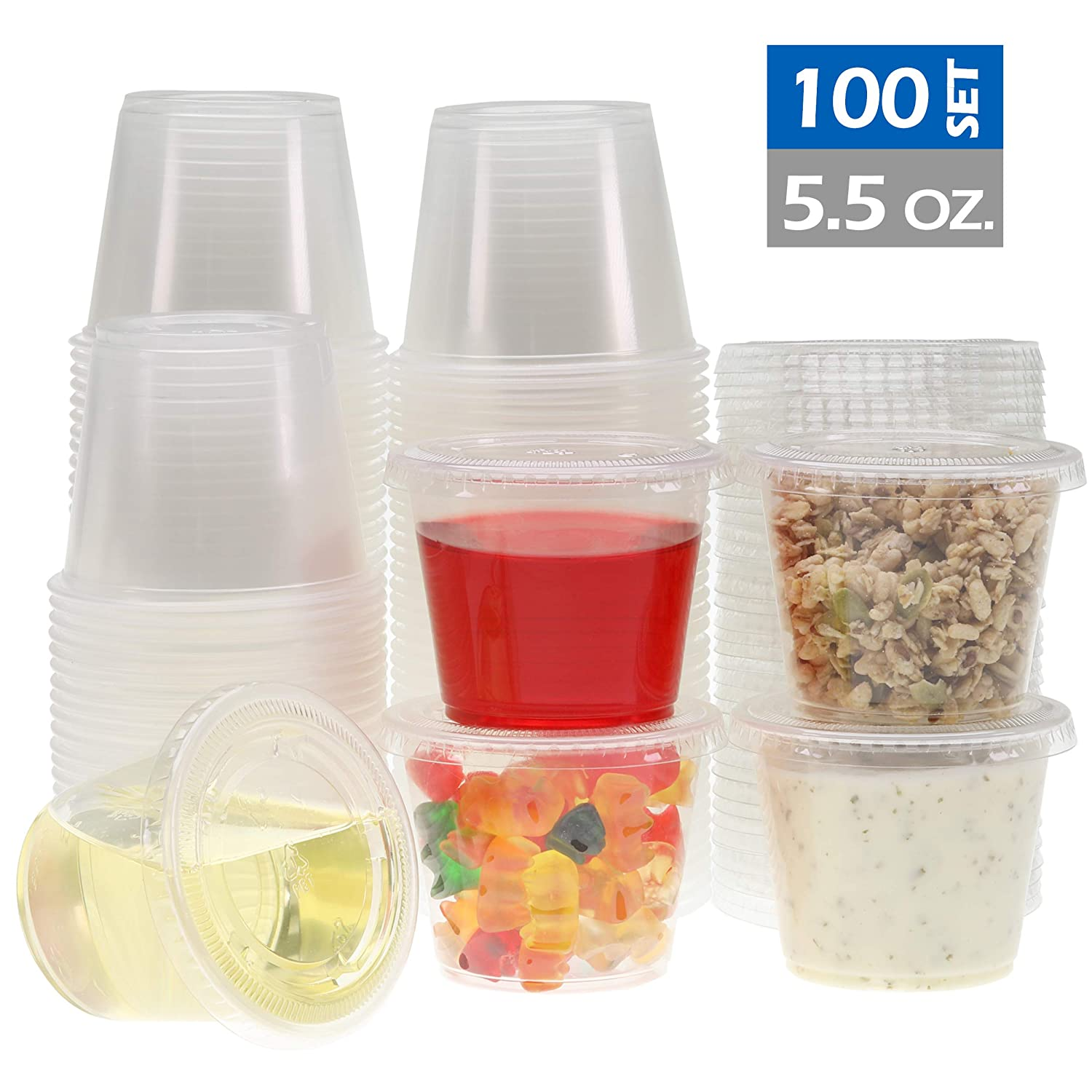 Freshware Plastic Disposable Portion Cups with Lids, 5.5-Ounce, [100 Sets] - Souffle Cups, Sampling Cups, Sauce Cups, Slime Cups, Jello Shot Cups