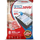 Spacesaver 8 x Premium Travel Roll Up Compression Storage Bags for Suitcases - No Vacuum Needed - (4 x Large, 4 x Medium) 80% More Storage Than Leading Brands! (Travel 8 Pack)