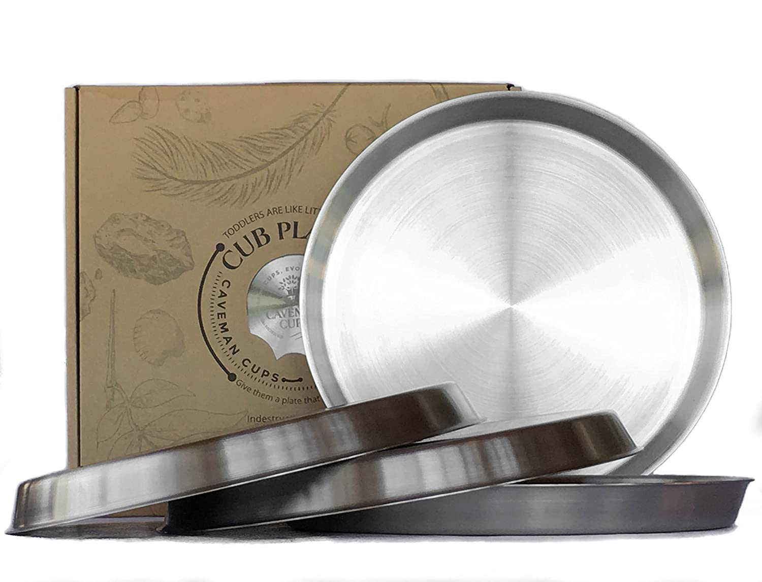 Premium Heavy Weight Stainless Steel Plates Set 4 Pack Kids Adults Elderly Camping Caveman Cups