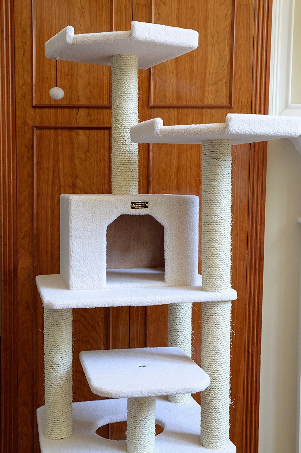 Ivory with Cat Bed Armarkat Combo Cat Tree Green