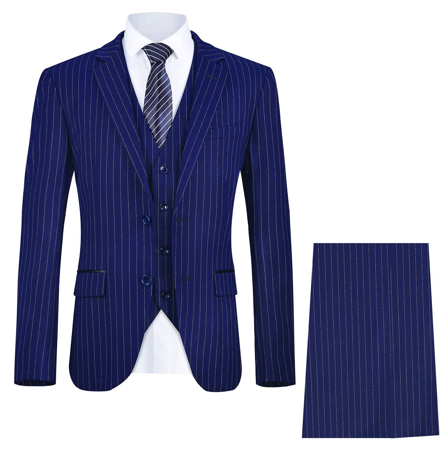 MAGE MALE Men's Pinstripe Suit Slim Fit 3 Piece Two-Button Business Wedding Party Blazer Vest& Pants Sets by MAGE MALE