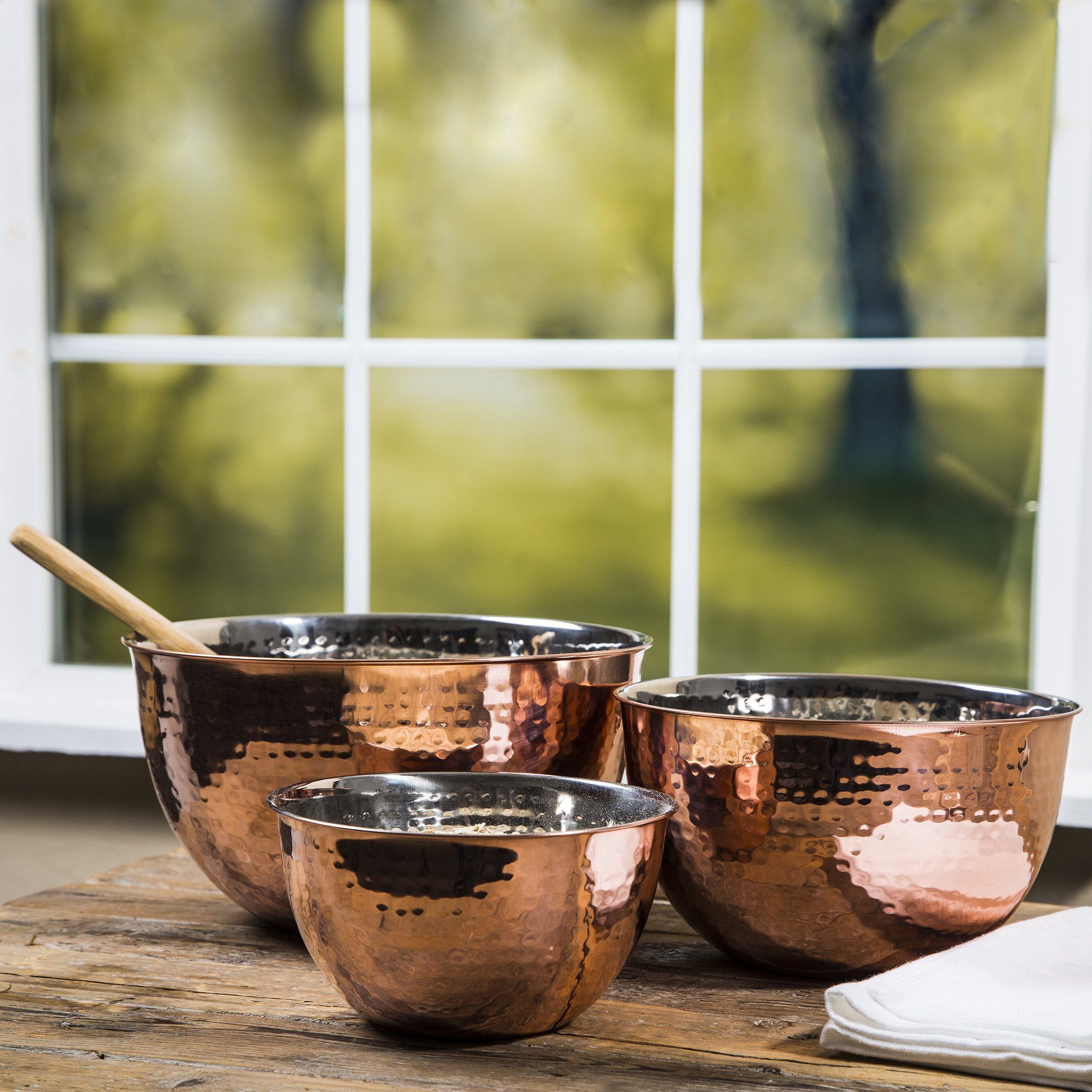 Set Of 3 Copper Hammered Mixing Bowls With Stainless Steel Interior Finish Nesting Bowls, Chef Cookware Set, by Le'raze