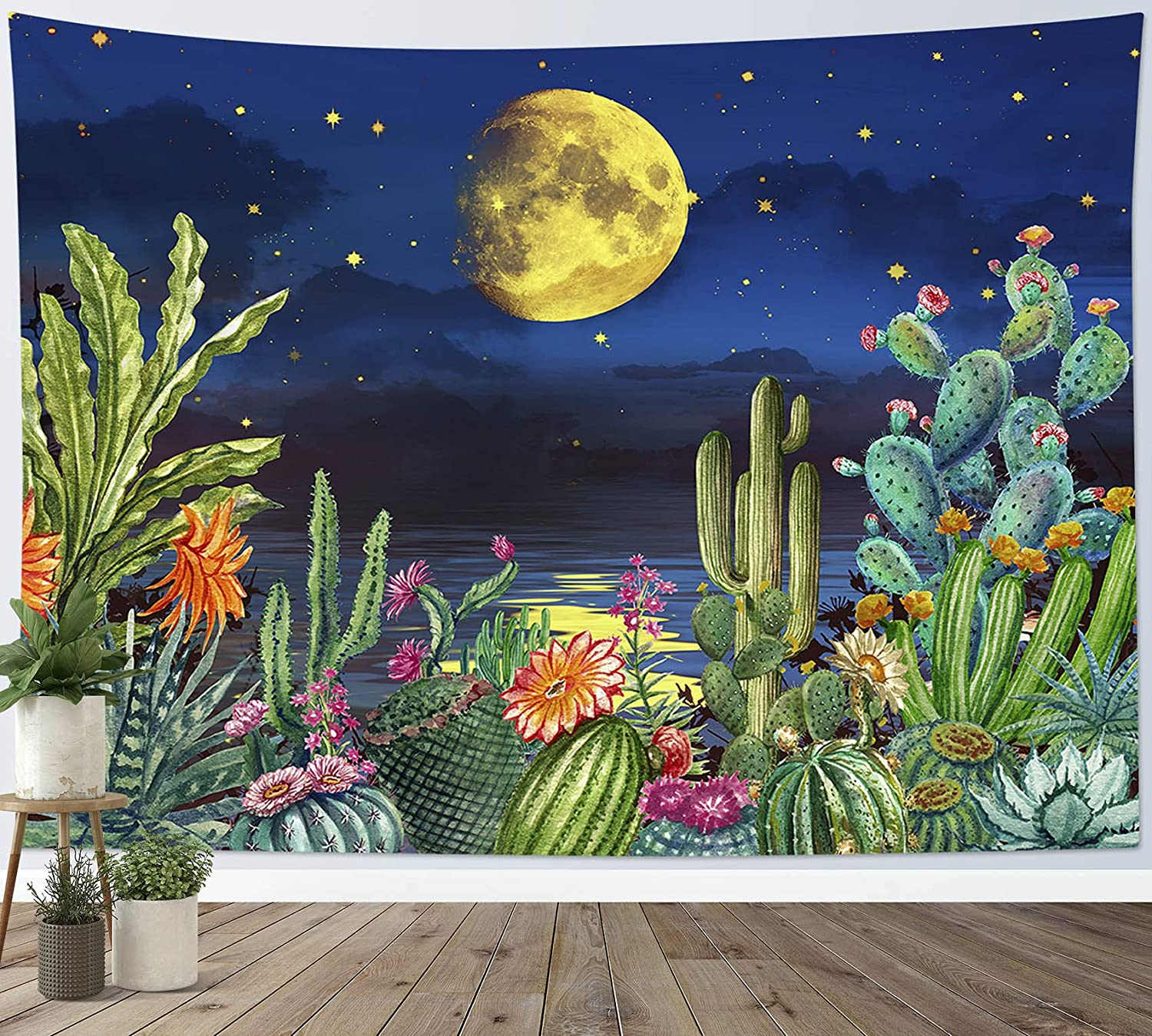 LB Small Full Moon Over Ocean Tapestry Cactus Wall Tapestry Fantasy Tropical Succulent Plant Tapestries Galaxy Sky Stars Tapestry Wall Hanging for Bedroom Living Room Dorm Home Decor, 60 x 40 Inches
