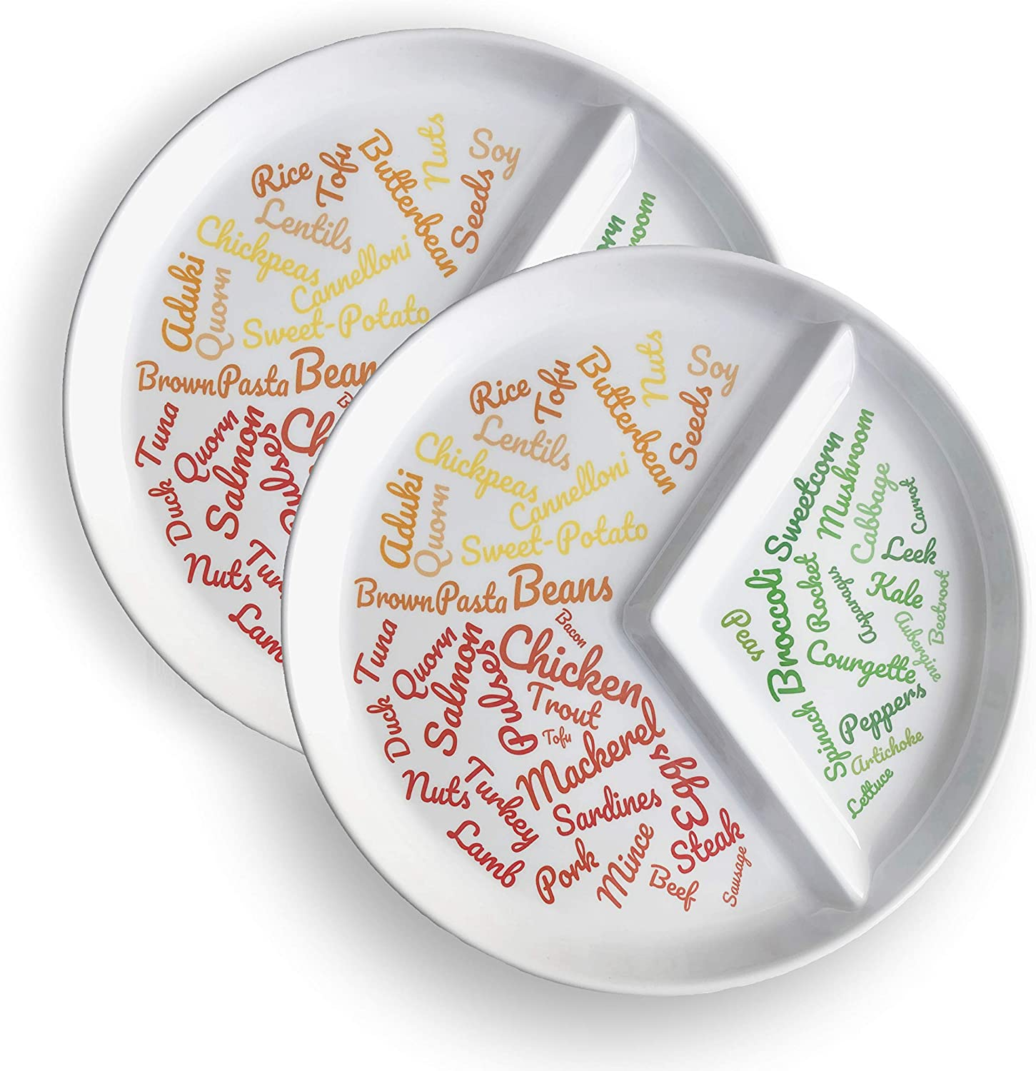 New: Divided Slimming Plate for Easy Portion Control (2 Pack) | Beautifully Designed Portion Control & Food Ideas for Sustainable Weight Loss | Easily Follow a Balanced Diet