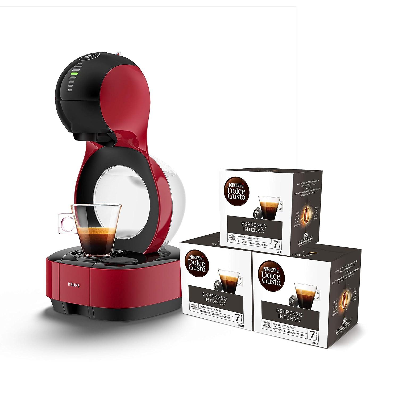 Pack Krups Dolce Gusto Lumio KP1305 - Cafetera de cápsulas, 15 bares de presión, color rojo + 3 packs de café Dolce Gusto Espresso Intenso