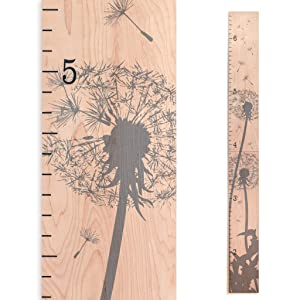 Dandelion Wooden Growth Chart - Height Chart for Kids, Boys, Girls and Baby