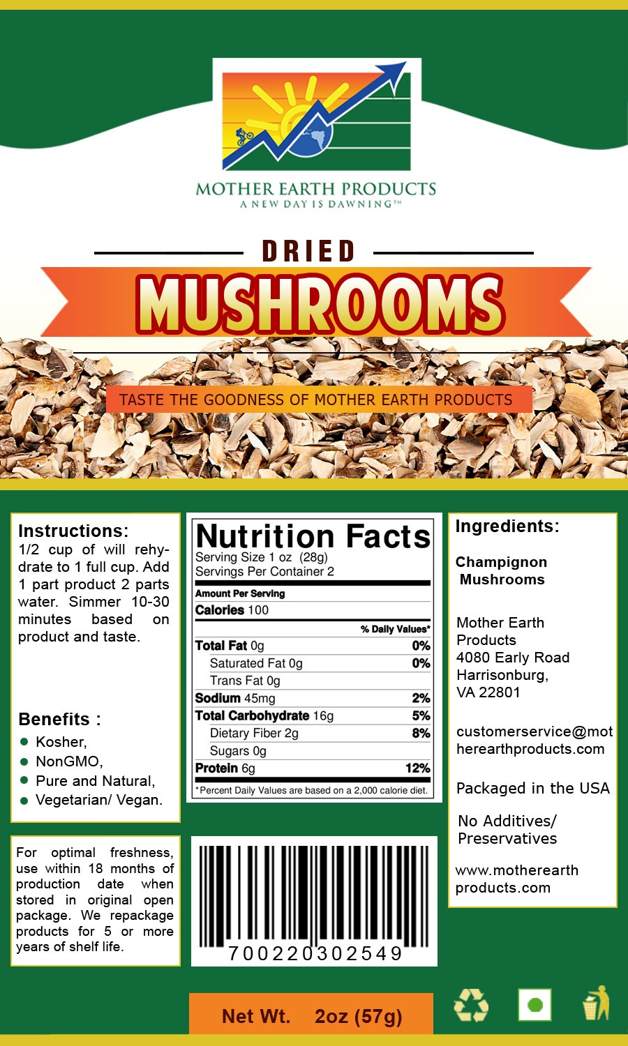 Mother Earth Products Dehydrated Mushrooms (2 Cup Mylar)