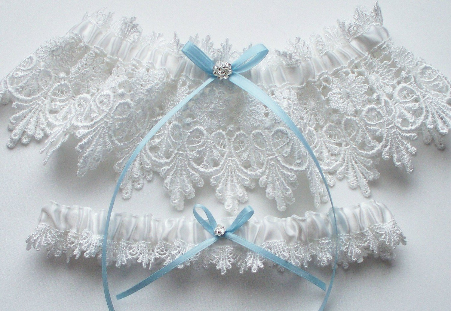 Wedding Garter Set in White Lace with Blue Satin Ribbon Bow and Swarovski Crystal Centering - The ALICIA Garter Set