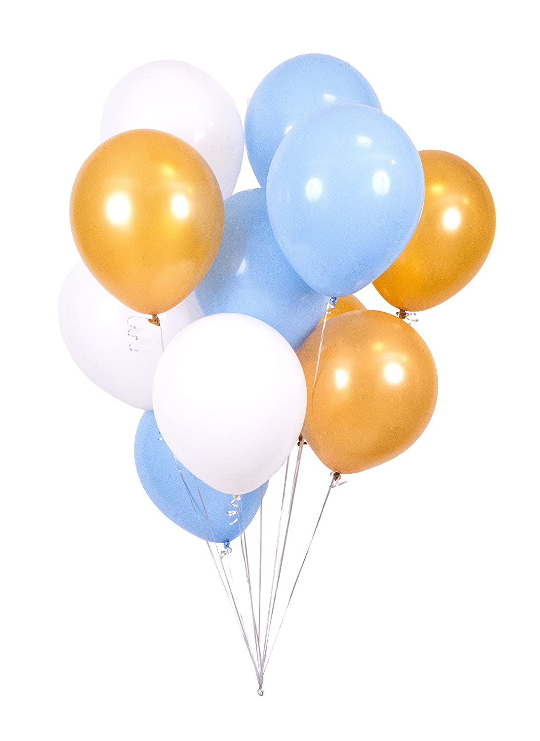White /& Pale Blue Balloons 16 inch 12 x Gold Super Thick Professional Grade